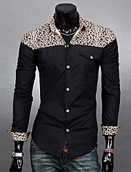 Men's Print / Solid Casual Shirt,Cotton Long Sleeve Black / Blue / Green / Red