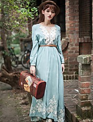 Women's Vintage / Casual / Lace / Maxi Floral Swing Dress , Round Neck Maxi Chiffon / Lace