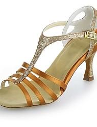 Non Customizable Women's Dance Shoes Latin Satin/Sparkling Glitter Flared Heel Black/Brown/Silver