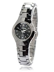 Women's Waterproof Round Dial Tungsten Steel Band Quartz Analog Wrist Watch(Assorted Color)