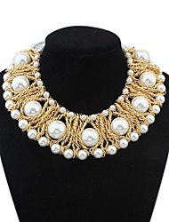 Women's Layers Weaved Pearls Elegant Bib Statement Necklace