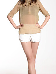 New Style Classic Style Drawstring Collar Blouse Ochre