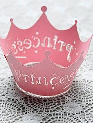 12pcs Pink Princess Laser Cut Lace Cupcake Wrappers Liners Muffin Cases Baby Shower Wedding Party Cake Decoartion