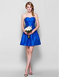 Short/Mini Taffeta Bridesmaid Dress - Royal Blue Plus Sizes A-line/Princess Strapless