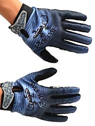 QEPAE Cycling Anti-skid Full Finger Blue + Black Gecko Pattern Gloves