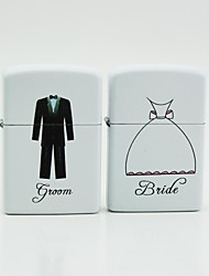 Personalized White Oil Lighters - Groom  Bride