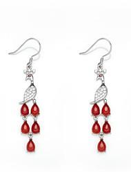 AS 925 Silver Jewelry  The fire phoenix Earrings (Bai Manao)