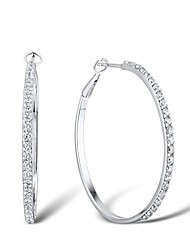 Women's Fashion Cubic Zirconia Sterling Silver Platinum-Plated  Earring
