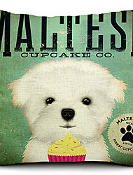 cão maltês de algodão / linho fronha decorativo