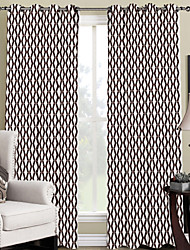 Modern Minimalist Brown Chevron Curtain (Two Panels)