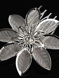 Fashion   Flower Bridal Tiara Crystal  Silver Plated  Mini Hair Comb