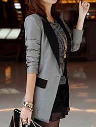 Women's Casual Contrast Color Shrug Long Slim Blazer