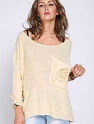 Women's Loose Big Yards Lace Stitching Back Sweater