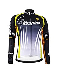 KOOPLUS Unisex Winter Cycling Clothing Long Sleeve Thermal Fleece Cycling Jersey--Black+Green