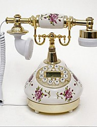 Rose Flower Style Ceramic Material Home Decor Telephone with ID Display