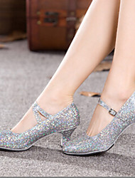 Bling Women's Leatherette Upper Chuncky Heel Modern Dance Shoes