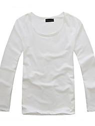 coton à manches longues simples t-shirt blanc des hommes coréens