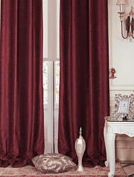 TWOPAGES® Two Panels  Modern Red Solid Energy Saving Curtain Drape