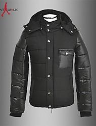 MANWAN WALK®Men's Patchwork Casual Slim Down Jacket.Stand Collar Warm Hooeded Cotton-padded Coat.