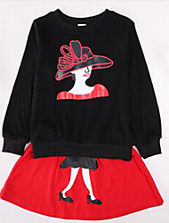 Girls' New Fashion Style Little Lady Vintage Dess Clothing Sets