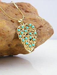 18K Gold Plated Turquoise/Pearl Leaves Pendant