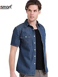 Lesmart Men's Short-sleeved Denim Shirt
