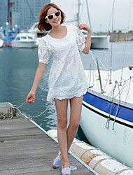 Stylish Hollow Lace Flower Dress White
