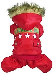 Cães Casacos Vermelho / Verde Roupas para Cães Inverno Polícia / Militar