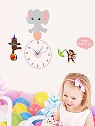 Wall Clock adesivos adesivos de parede, adorável elefante&macaco&suportar pvc adesivos de parede