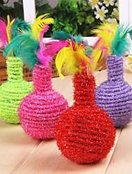 vaso em forma de brinquedos de sisal com pena colorida decorado para gatos de estimação (cor aleatória)