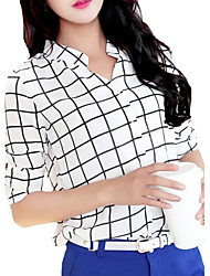 Women's Plaid White Blouse ¾ Sleeve