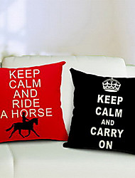Набор 2 Сохраняйте спокойствие хлопок / лен декоративные подушки крышки