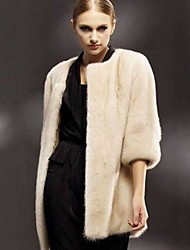 élégant manteau en fausse fourrure chaude ¾ de la manche de femmes