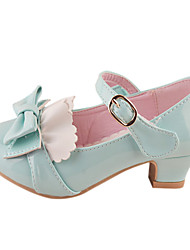 Girls' Shoes Dress / Party & Evening Leatherette Heels Spring / Fall Heels Chunky Heel Blue / Yellow / Pink