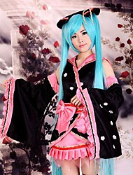 Inspired by Vocaloid Hatsune Miku Anime Cosplay Costumes Cosplay Suits / Kimono Patchwork Black Long SleeveKimono Coat / Skirt /