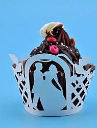 12pcs découpe laser gâteau cas enrubanneuse paquebots de muffins fiançailles douche nuptiale gâteau de fête de mariage Decoartion