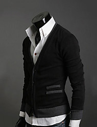 moda manga longa v pescoço cardigan homens tero