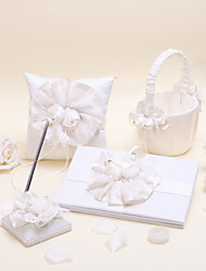 1 Collection Set Ivory Guest Book Pen Set Ring Pillow Flower Basket