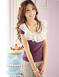 Sweety Lace Collar Lotus Leaf Short Sleeve T-shirt Purple