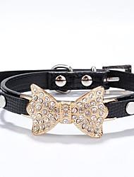 Katzen / Hunde Halsbänder Strass Rot / Schwarz / Blau / Rosa / Gold / Silber / Rose PU Leder