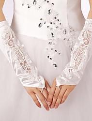 Vintage Satin Spitzen Applikationen Perlen Verschönerungen fingerellbogenlangen Handschuhen Bräute