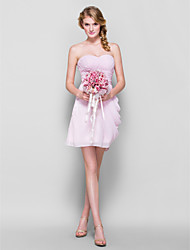 Lanting Short/Mini Chiffon Bridesmaid Dress - Candy Pink Plus Sizes / Petite Sheath/Column Sweetheart