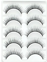 New 5 Pairs European Fiber Black Long Thick False Eyelashes Eyelash Eye Lashes for Eye Extensions