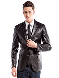 Slim Notch Jacket With Two Buttons In PU