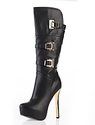 Women's Shoes Round Toe Stiletto Heel Leatherette Knee High Boots with Buckle More Colors available