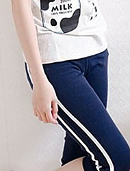 Fashionable Rib Elastic Middle Pants Navy Blue