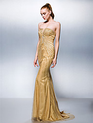 Formal Evening Dress - Gold Trumpet/Mermaid Strapless Sweep/Brush Train Tulle/Stretch Satin