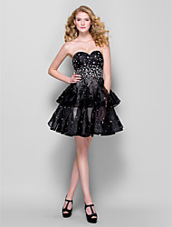 Cocktail Party Dress - Black Plus Sizes / Petite Ball Gown Sweetheart Short/Mini Organza