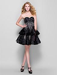 robe de cocktail de retour - boule noire robe de fiancée mini court organza /