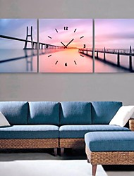 E-HOME® The River And The Bridge Clock in Canvas 3pcs